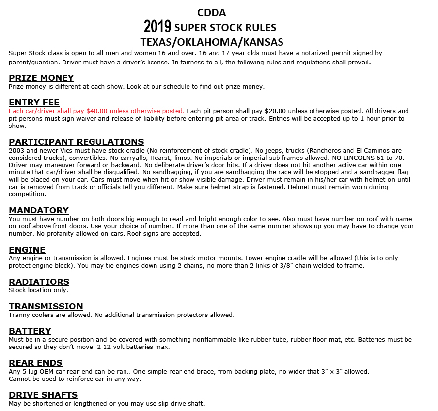 Rules and Regulations – Abilene Speedway